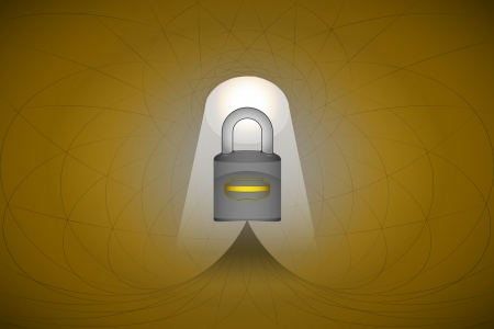 heavenly space with light beam highlights padlock safety vector illustration Stock Vector - 22372322
