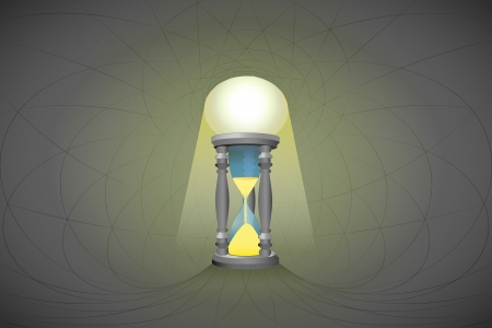 heavenly space with light beam highlights sandglass vector illustration Stock Vector - 22372324