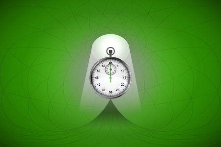 heavenly light: heavenly space with green light highlights stopwatch vector illustration