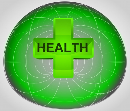 green matrix cell with health in the middle vector illustration Vector