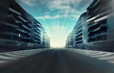 racecircuit in zakenstad avonds motion blur behangillustratie