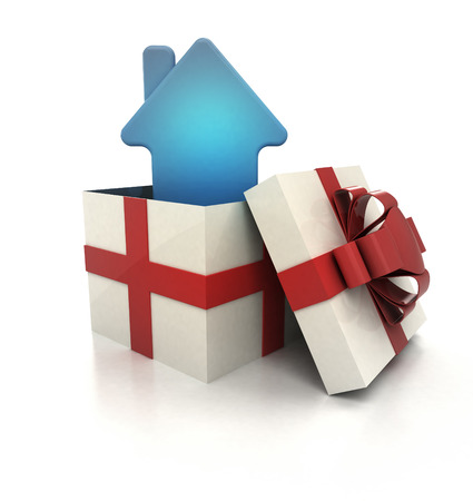 mysterious magic gift with blue house icon inside render illustration illustration