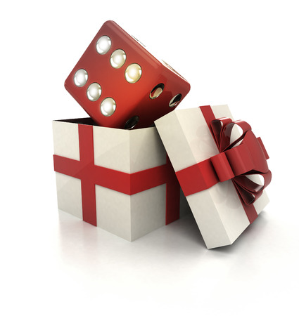 mysterious magic gift with lucky red dice inside render illustration illustration