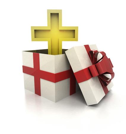christmas cross: mysterious magic gift with golden cross inside render illustration Stock Photo