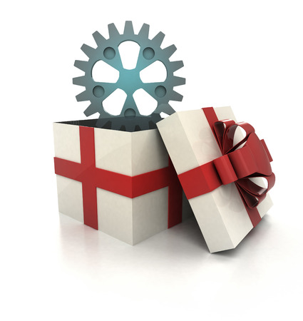 spare part: mysterious magic gift with cogwheel spare part render illustration Stock Photo