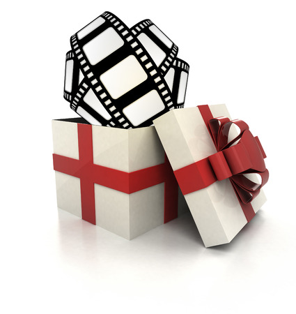 mysterious magic gift with movie tape render illustration illustration