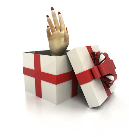 mysterious magic gift with human hand surprise render illustration illustration