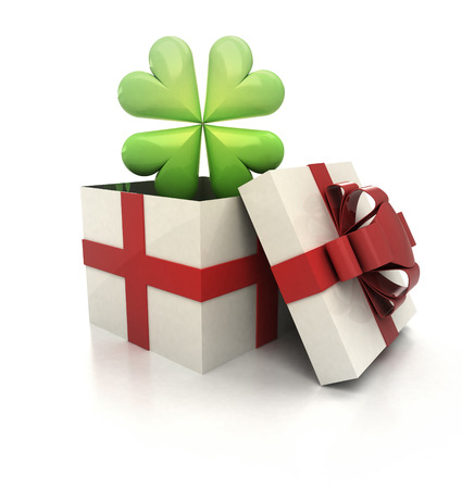 mysteus magic gift with green lucky cloverleaf render illustration Stock Illustration - 22733831