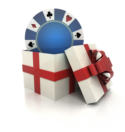 mysterious magic gift with blue poker chip render illustration illustration
