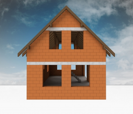 rafter: new bricked house construction with sky illustration
