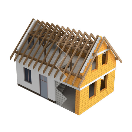house illustration: wooden construction house design zigzag transition illustration Stock Photo