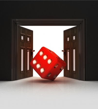 way to lucky dice through doorway space illustration illustration