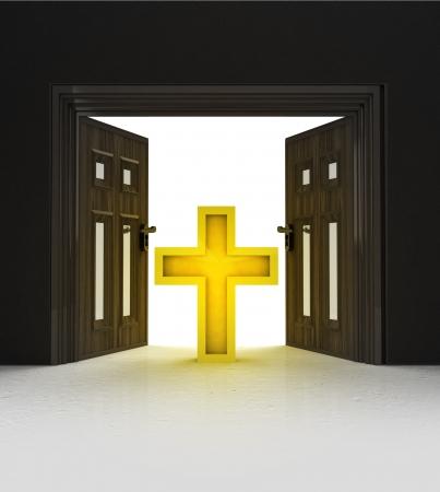 godness: way to Christian religion through doorway space illustration Stock Photo