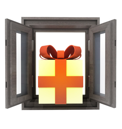isolated opened window with gift surprise in the middle illustration illustration