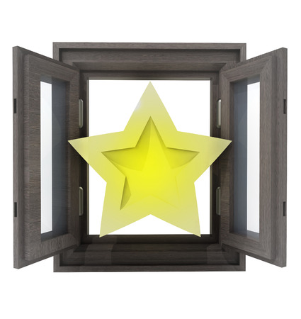 isolated opened window with to rated star in middle illustration illustration