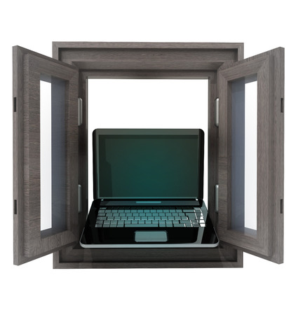 timbered: isolated opened window to laptop communication illustration