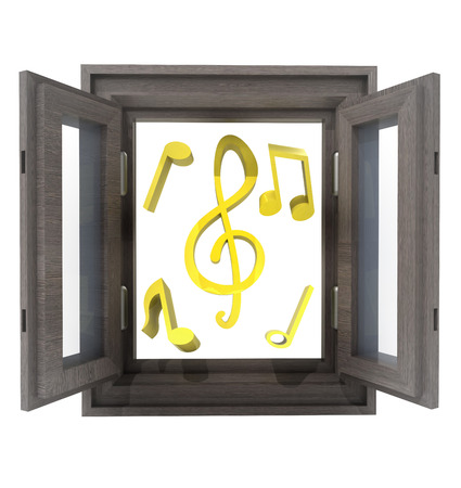 isolated opened window to new cool music illustration Stock Illustration - 22718478