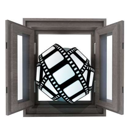 cinematic: isolated opened window to new cinematic work illustration