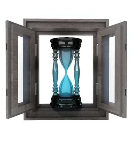 isolated opened window with sand glass time count illustration illustration