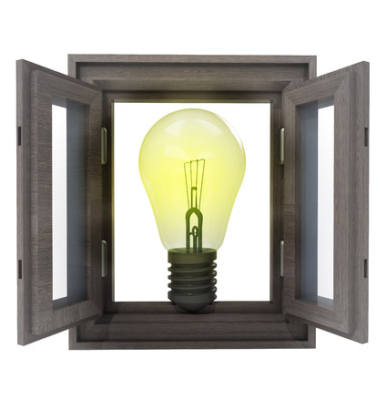 isolated window opened way to new inventions illustration illustration