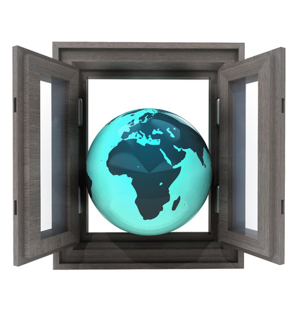 isolated window opened to African countries travel illustration Stock Illustration - 22733976