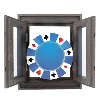 timbered: isolated house window with poker chip in the middle illustration