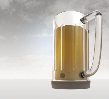 bier: full glass of tasty bier with sky background render illustration