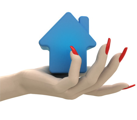 isolated blue house icon in women hand render illustration illustration