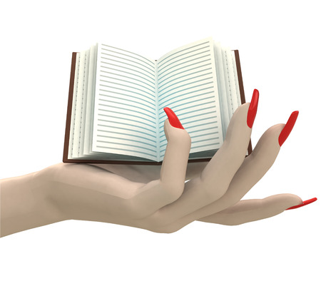 isolated open book in women hand render illustration illustration