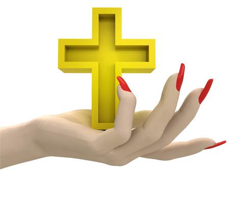 godness: isolated golden cross in women hand render illustration