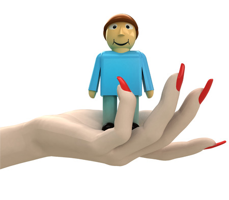 isolated man figure in women hand render illustration illustration