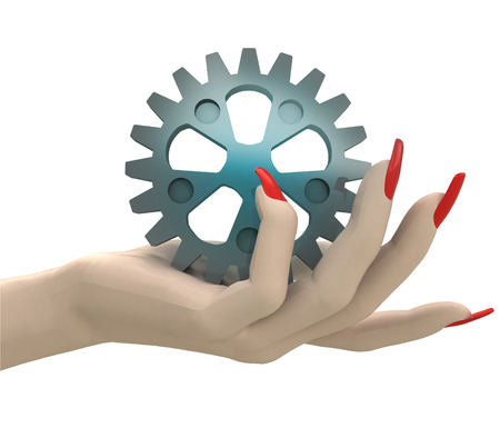 isolated cogwheel part in women hand render illustration illustration