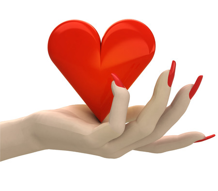 isolated red lovely heart in women hand render illustration illustration