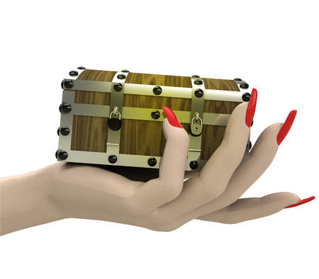 isolated closed mysterious chest in women hand render illustration illustration