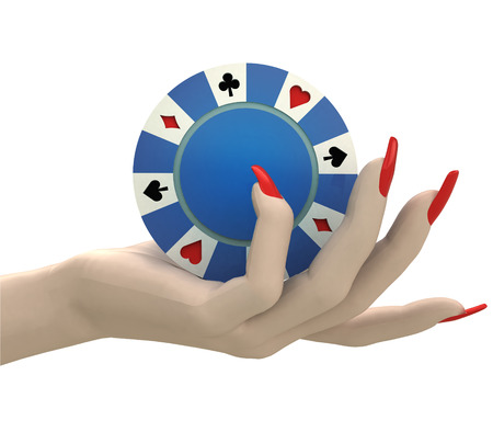 isolated poker chip hold in women hand render illustration illustration