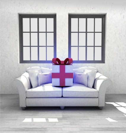 confortable: new couch gift in your confortable interior design render illustration