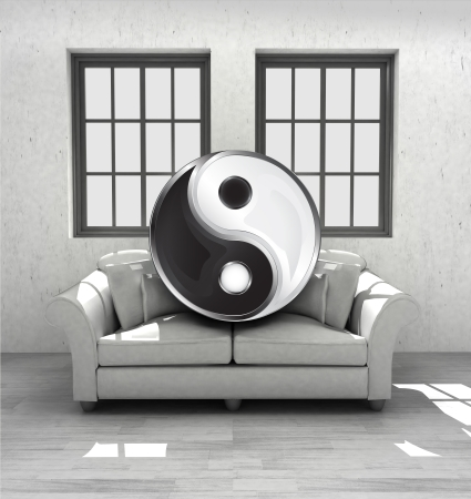 confortable: meditation and relaxing in your confortable interior design render illustration Stock Photo