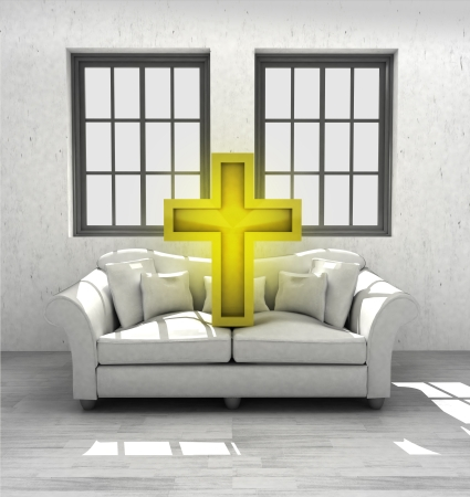 godness: holy cross  pray to your confortable interior design render illustration Stock Photo