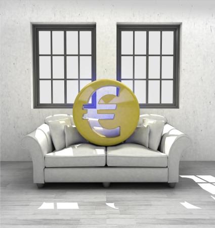 confortable: invest Euro coins to confortable interior design render illustration