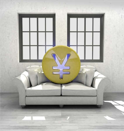 invest Yuan coins to confortable interior design render illustration illustration