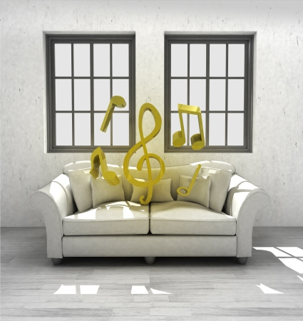 listen music in your confortable interior design render illustration