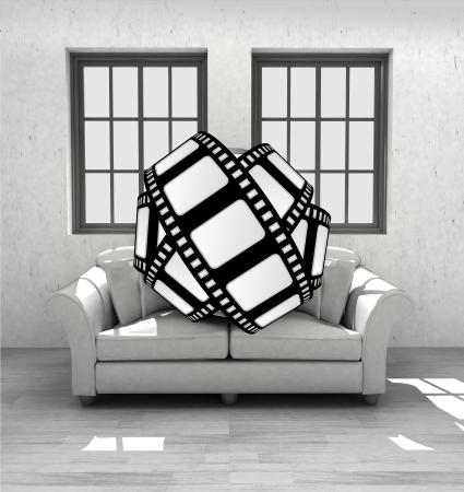 watch movies in your confortable interior design render illustration illustration