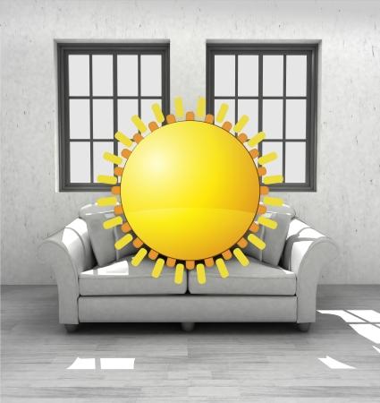 hot seat: enjoy sunrise in your confortable modern interior design render illustration Stock Photo