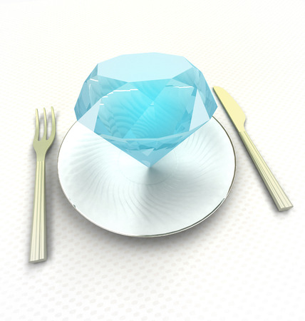 luxurious meal jewel on the plate concept render illustration Stock Illustration - 22718275