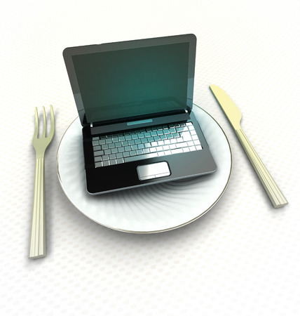 find restaurant or order meal on internet render illustration