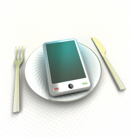 to consume: consume modern smart phone technologies render illustration Stock Photo
