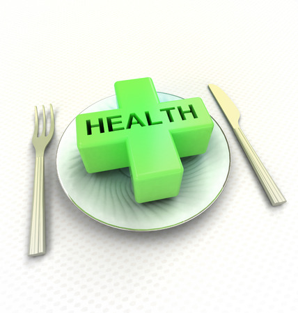 what to eat: take care what you eat advetsisement render illustration Stock Photo
