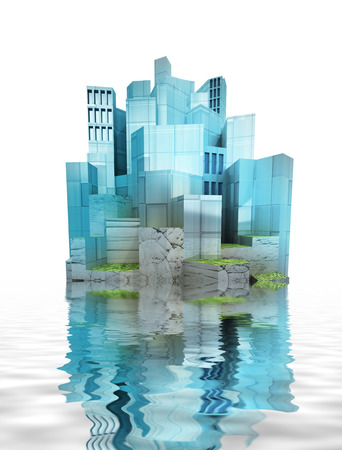isolated beautiful modern city island with water reflections render illustration  illustration
