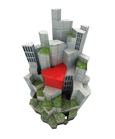 isolated modern city island with red heart render illustration  illustration