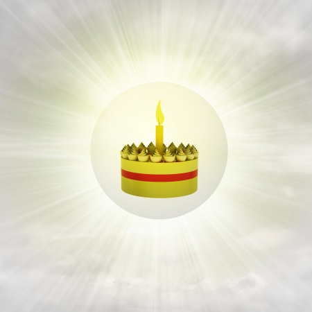 celebration cake in glossy bubble in the air with flare illustration illustration